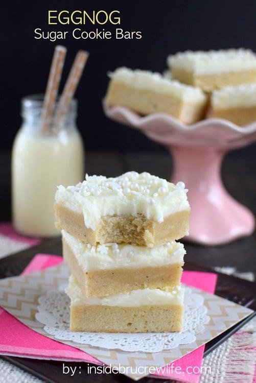 Eggnog Sugar Cookie Bars - Eggnog Dessert Recipes