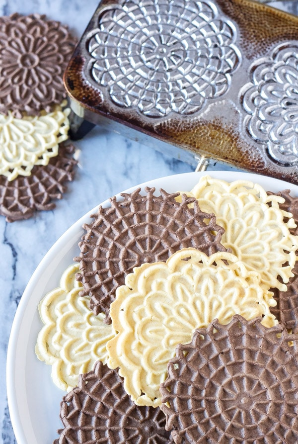 Vanilla and Chocolate Pizzelles - Christmas Cookies