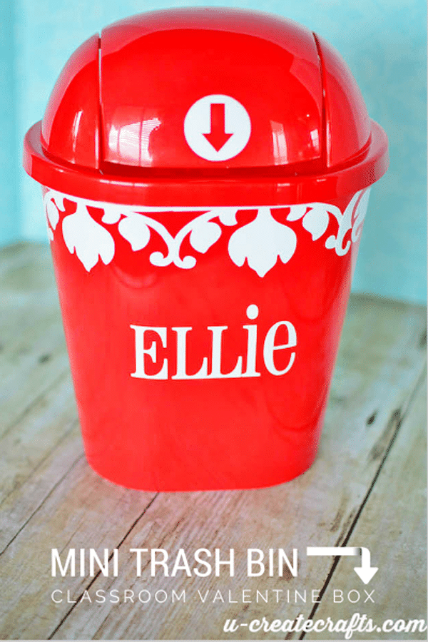 Mini trash bin valentine box