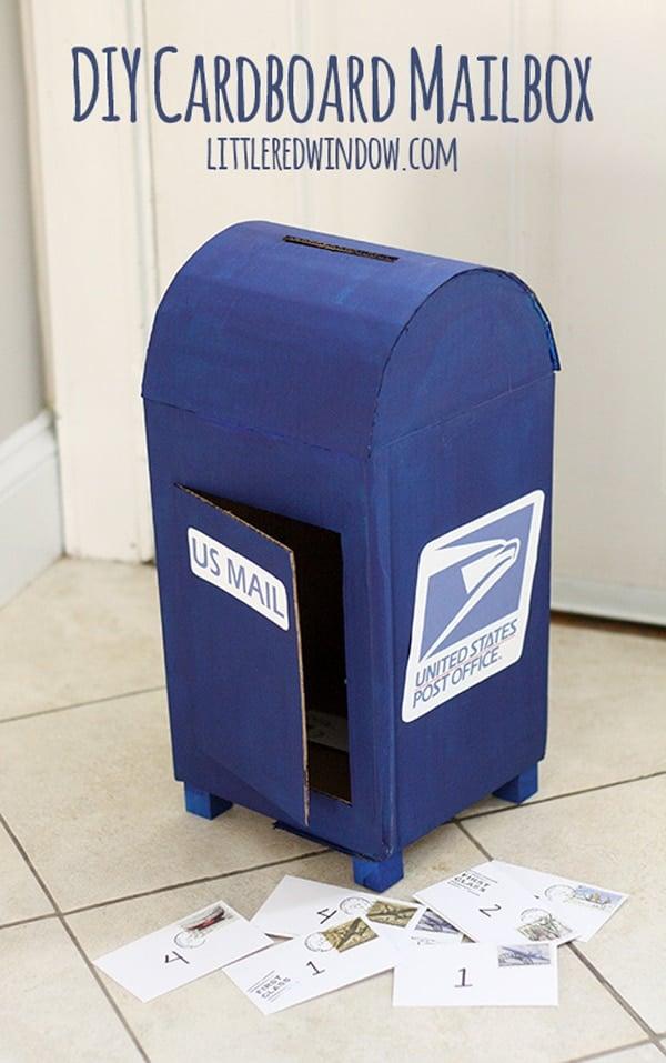 DIY cardboard valentine mailbox