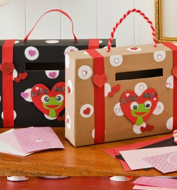 DIY Cardbox Suitcase Valentine Card Holder
