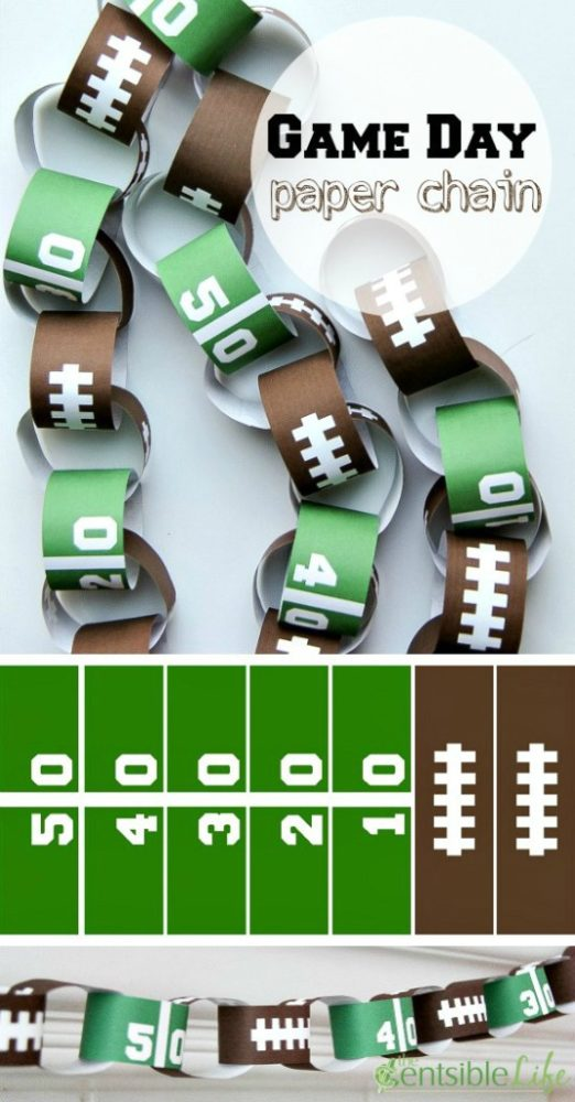 DIY Football Paper Chain Decoration - how to throw a kid-friendly super bowl party