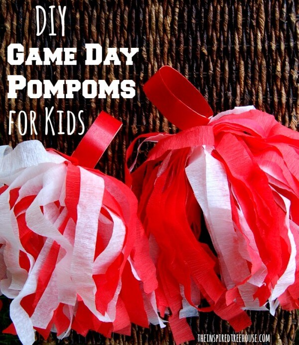 DIY Football Pom Poms - how to throw a kid-friendly super bowl party
