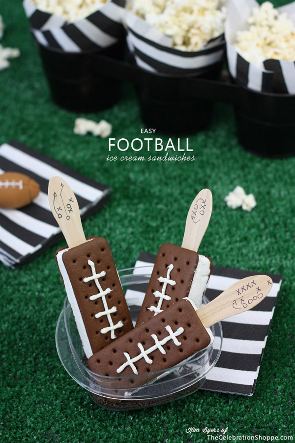 Easy Football Ice Cream Sandwiches - How to throw a kid-friendly super bowl party