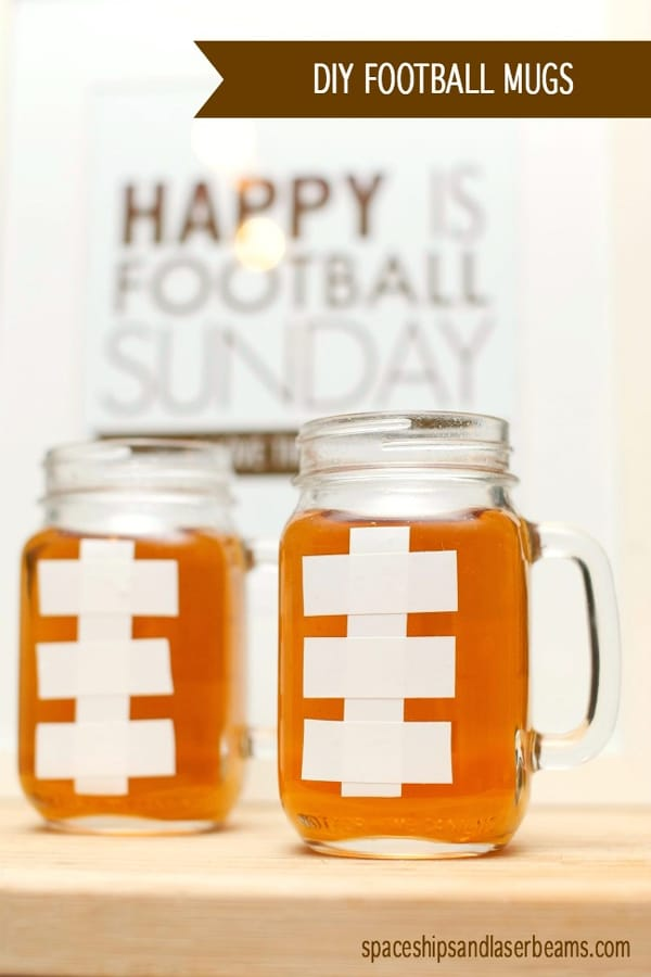 DIY Football Mugs - how to throw a kid-friendly super bowl party