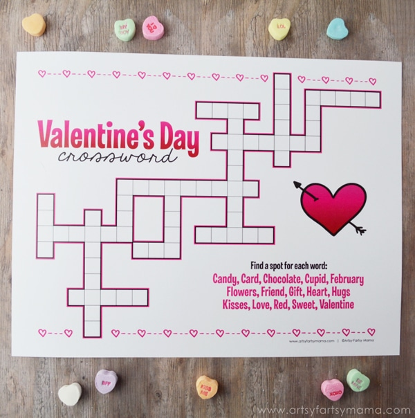 Nerdy image inside valentine crossword puzzles printable