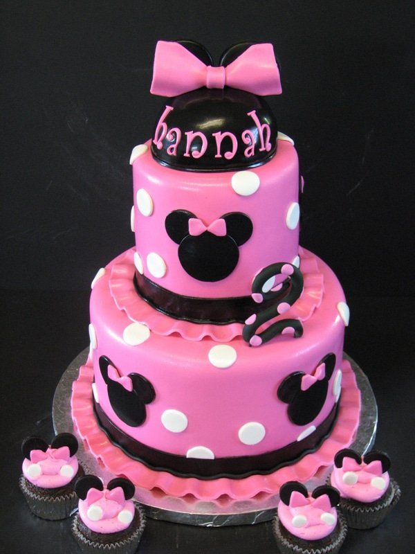 Pink White And Black Birthday Cakes