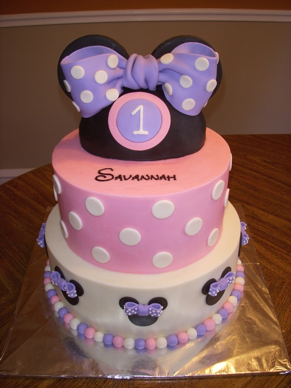 Purple and Pink Minnie Mouse Cake