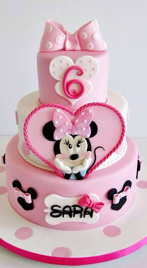 Pink And White Minnie Mouse Cake