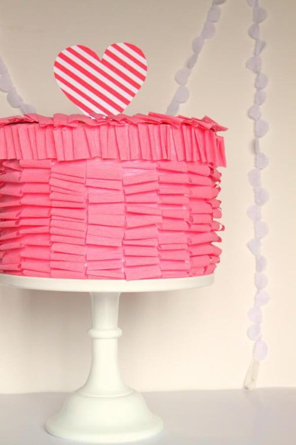 DIY pink ruffle cake valentine box