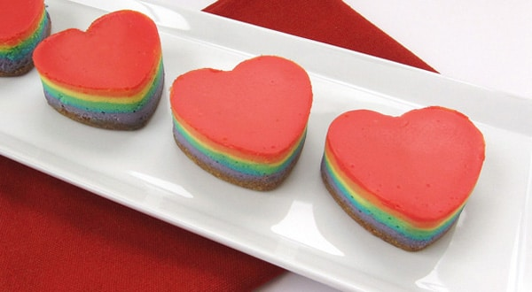 Rainbow Cheesecake Hearts : Hungry Happenings