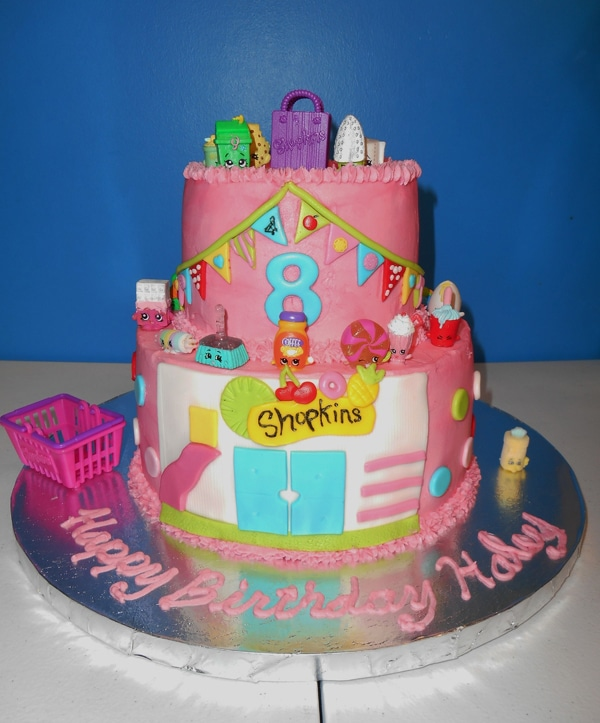 Pink Shopkins themed cake