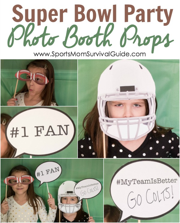 Super Bowl Party Photo Booth Props - how to throw a kid-friendly super bowl party