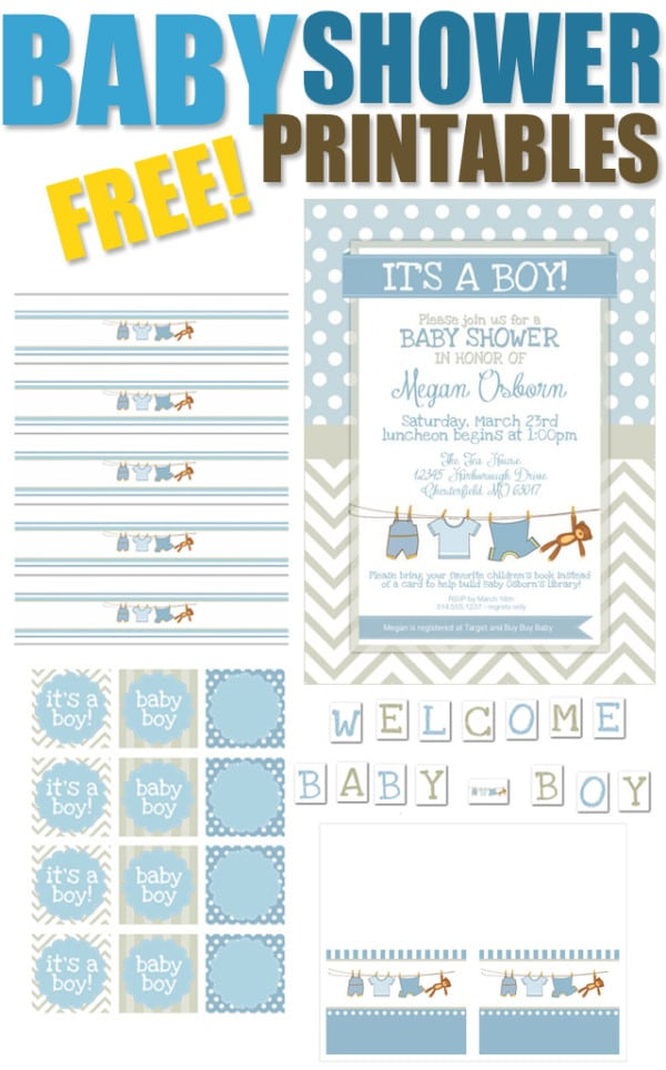 15 free baby shower printables pretty my party for Baby shower label template for favors
