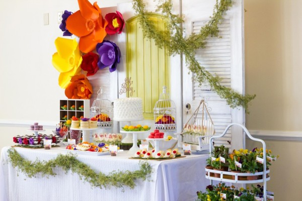 Floral Inspired Baby Shower Dessert Table via Pretty My Party