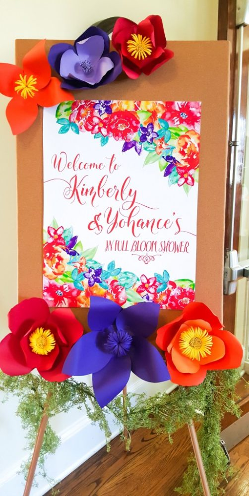 Floral Inspired Baby Shower Welcome Sign via Pretty My Party