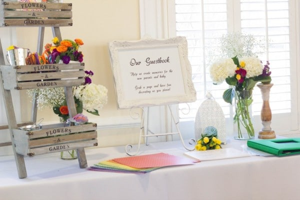 Floral Inspired Baby Shower Guest Book via Pretty My Party