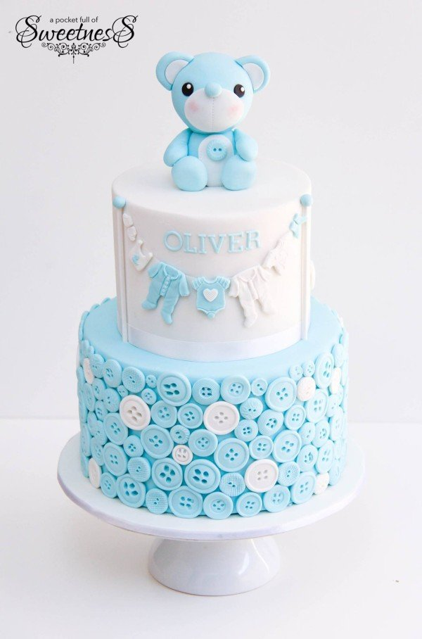 Blue Buttons and Bear Baby Shower Cake, 10 Baby Shower Cakes via Pretty My Party