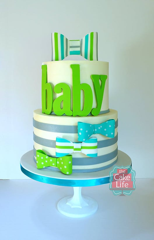 Green and Blue Bow Tie Baby Shower Cake, 10 Baby Shower Cakes via Pretty My Party