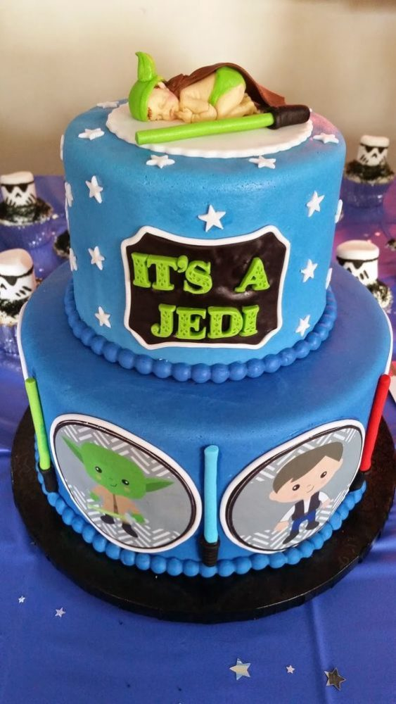 Star Wars Jedi Baby Shower Cake, 10 Baby Shower Cakes via Pretty My Party