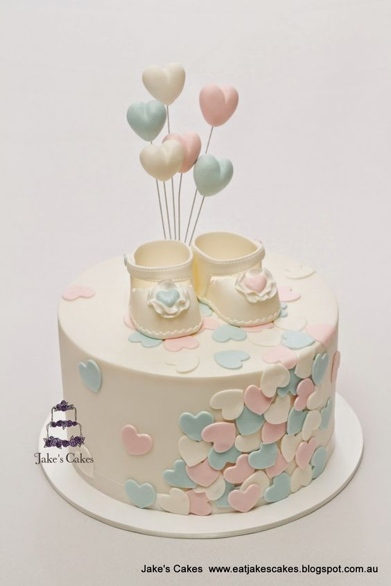 Loveheart Baby Shower Cake, 10 Baby Shower Cakes Via Pretty My Party