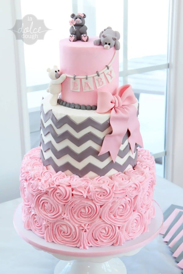Pink and Gray Teddy Bears Baby Shower Cake For Girls