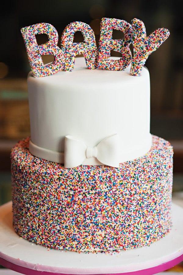 Sprinkle Baby Shower Cake, 10 Baby Shower Cakes via Pretty My Party