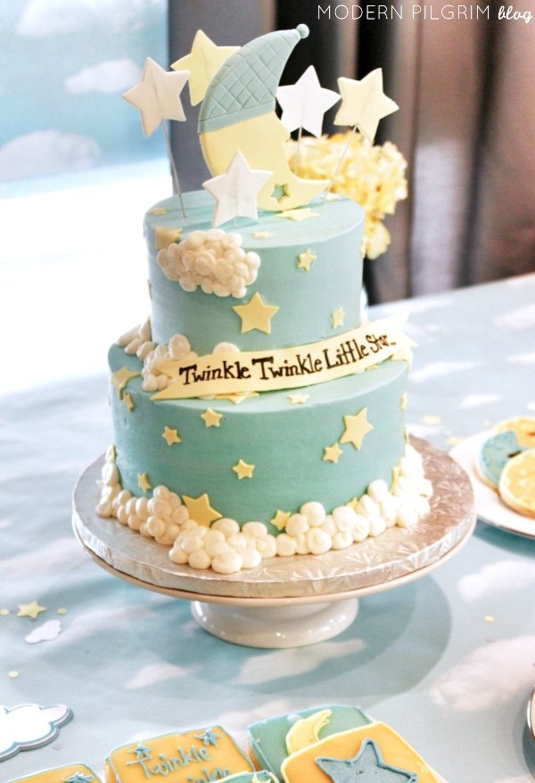 Twinkle Little Star Baby Shower Cake, 10 Baby Shower Cakes via Pretty My Party