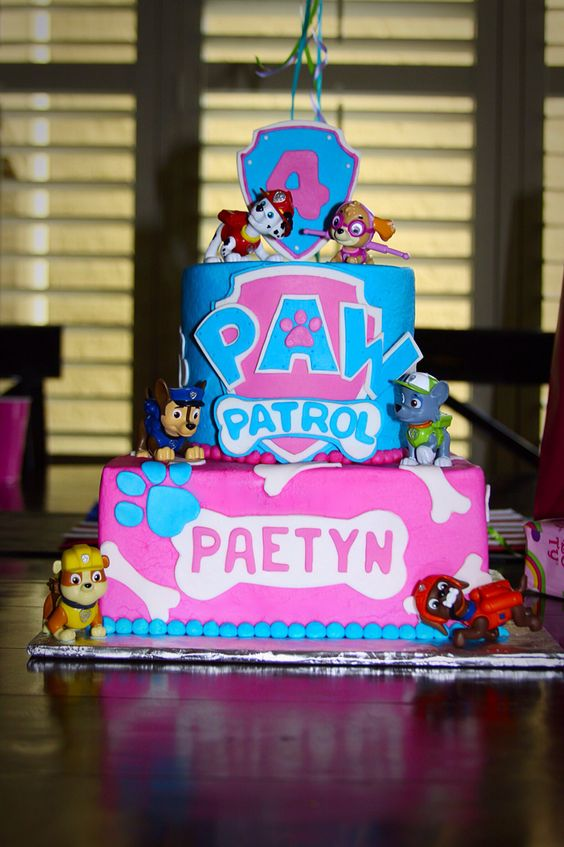 Pink and Blue Skye Paw Patrol Cake