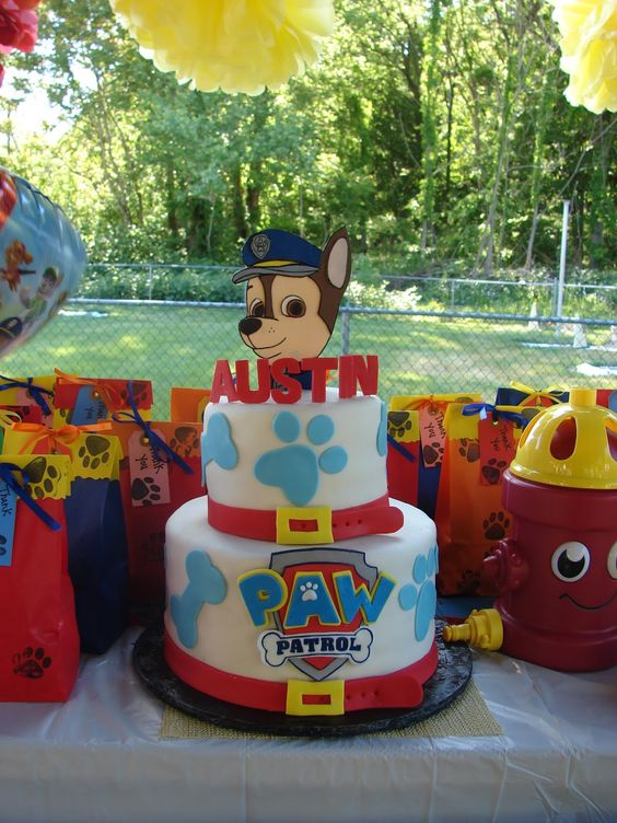 Blue and Red Chase Paw Patrol Birthday Cake