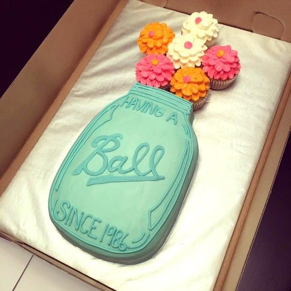 Ball Mason Jar Flowers Pull Apart Cupcake Cake