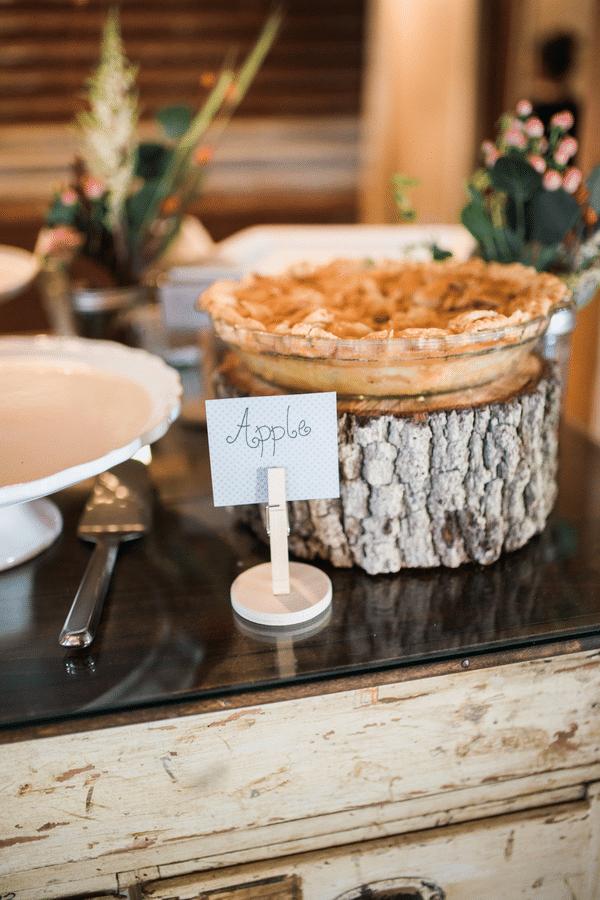 Southern Rustic Charm Wedding Theme pie bar| Pretty My Party
