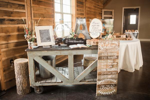 Southern Rustic Charm Wedding Theme reception decor| Pretty My Party