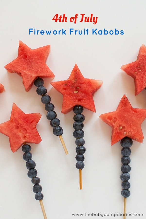 1 4th of July Fruit Kabobs, 20 Ideas for Celebrating 4th of July via Pretty My Party