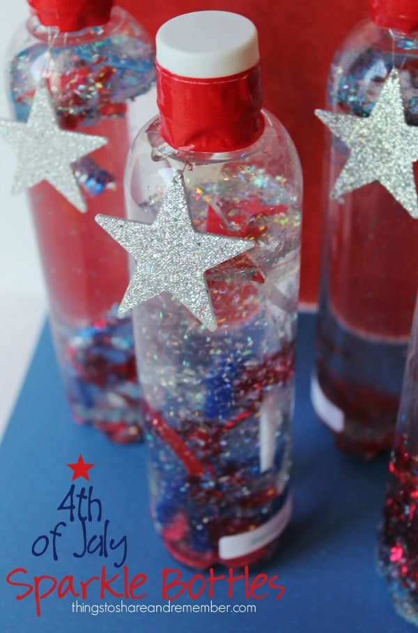 2 4th of July Sparkle Bottles, 20 Ideas for Celebrating 4th of July via Pretty My Party