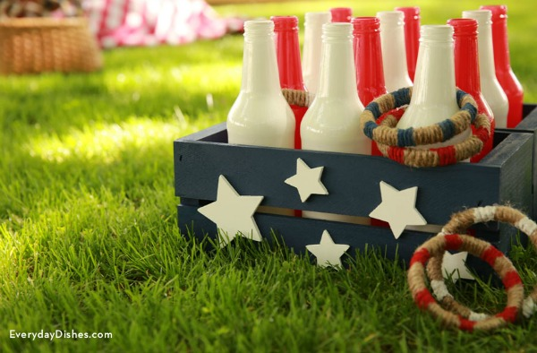 2 American Bottle Ring Toss Game, 20 Ideas for Celebrating 4th of July via Pretty My Party
