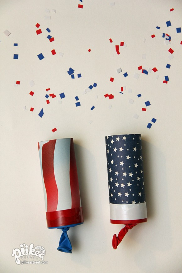 2 Confetti Launchers, 20 Ideas for Celebrating 4th of July via Pretty My Party