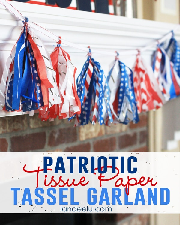 3 Patriotic Tissue Paper Tassel Garland, 20 Ideas for Celebrating 4th of July via Pretty My Party