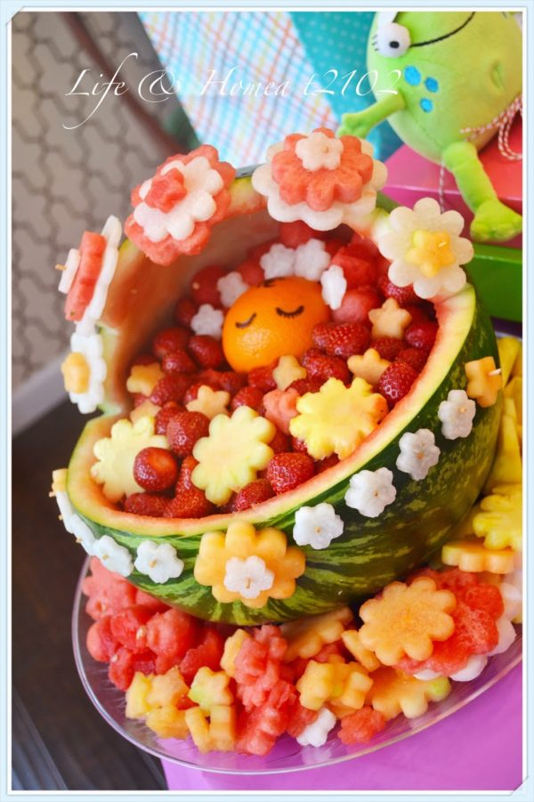 Baby Watermelon Carving Idea For Baby Shower