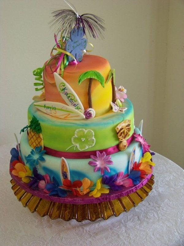 Hawaiian Luau Cake, 21 Sizzling Summer Birthday Cake Ideas | Pretty My Party