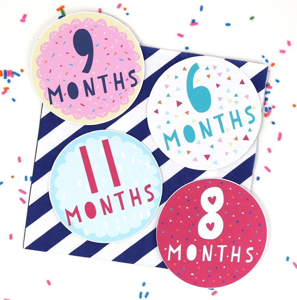 9 Free Printable Monthly Baby Stickers Pretty My Party
