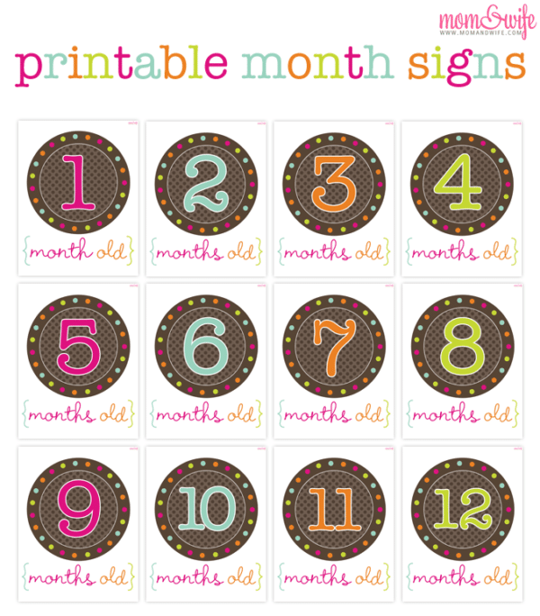 9 Free Printable Monthly Baby Stickers | Pretty My Party