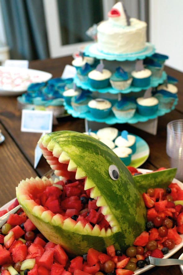 How to make a shark watermelon carving