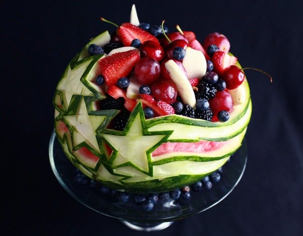Patriotic Stars and Stripes Watermelon Carving for 4th of July