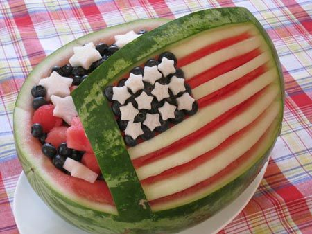 American Flag Watermelon Carving for 4th of July