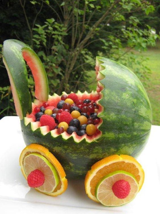 Baby Carriage Watermelon Carving For A Baby Shower