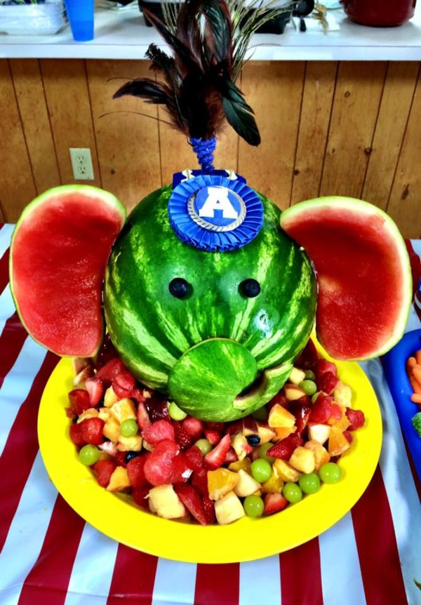 Circus Elephant Watermelon Carving