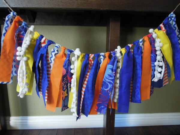 Fabric Scrap Banner, Finding Dory Birthday Party Ideas | Pretty My Party