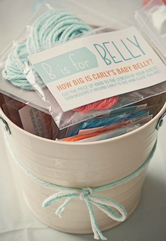 Measure Moms Belly Baby Shower Game, 15 Entertaining Baby Shower Games via Pretty My Party