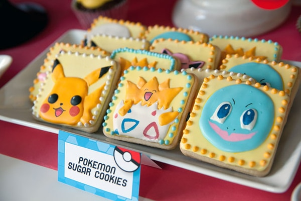 Pokemon Sugar Cookies, Creative Pokemon Birthday Party Ideas via Pretty My Party